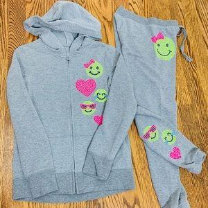 Justice girls hooded sweatshirt and pants emojis 7